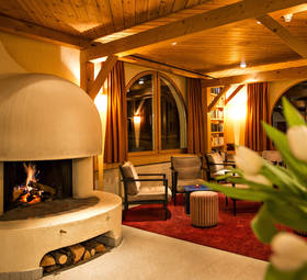 Lobby with cozy fireplace.